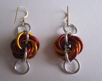 Fireball thick Mobius feature dangle earrings