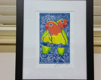 My Valentine: original hand-pulled block print, hand-coloured lovebirds 15 x 21cm on art paper; unframed