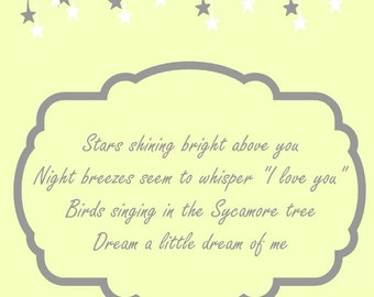 "8x 10 ""Dream a little dream of me"" nursery art"