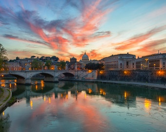 Italy Photography, Sunset over Vatican City, Rome Photography, Italian Sunset, St Peters Basilica, Rome Sunset Photography