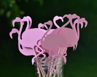 Pretty Pink Flamingos on bamboo sticks (DOZEN)