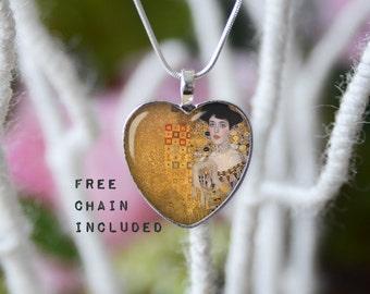 Portrait of Adele Bloch-Bauer I, Gustav Klimt fine art heart shape necklace. Romantic gift pendant. Free matching chain is included.