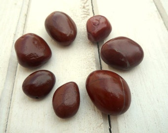 Burgundy Beach Pebbles, Beach Stones, Stone Beads, Sea Stones, Undrilled Stones