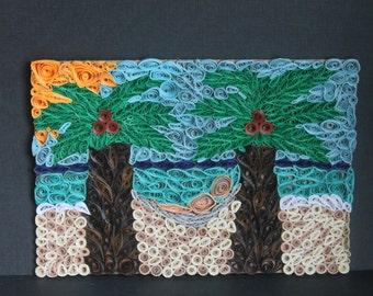 Quilled Beach Scene 8x6