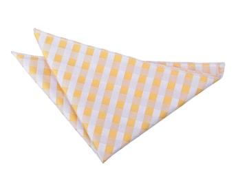 Gingham Check Sunflower Gold Handkerchief / Pocket Square