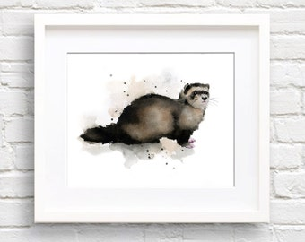 Ferret Art Print - Watercolor Painting - Wildlife - Signed by Artist DJ Rogers - Wall Decor