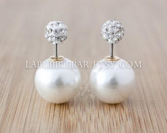 Double Pearl Earrings -  Double Sided Earrings - Choose Your Top Piece - Tribal Earrings, Double Stud Earrings, Double Pearl Earrings