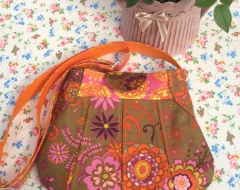 Floral Shoulder Bag - designer 100% cotton fabric