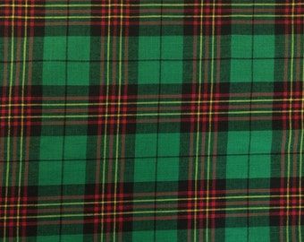 100% Cotton Madras Plaid Fabric By the Yard Orange Green White (Style 1401)