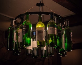 Wine Bottle Chandelier for wine Enthusiast Light Lighting hanging Chain Wine Decor No Wiring Required wine rack