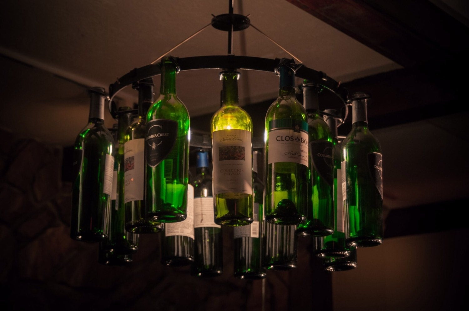 Wine bottle chandelier for wine enthusiast light lighting - Wine bottle pendant light ...