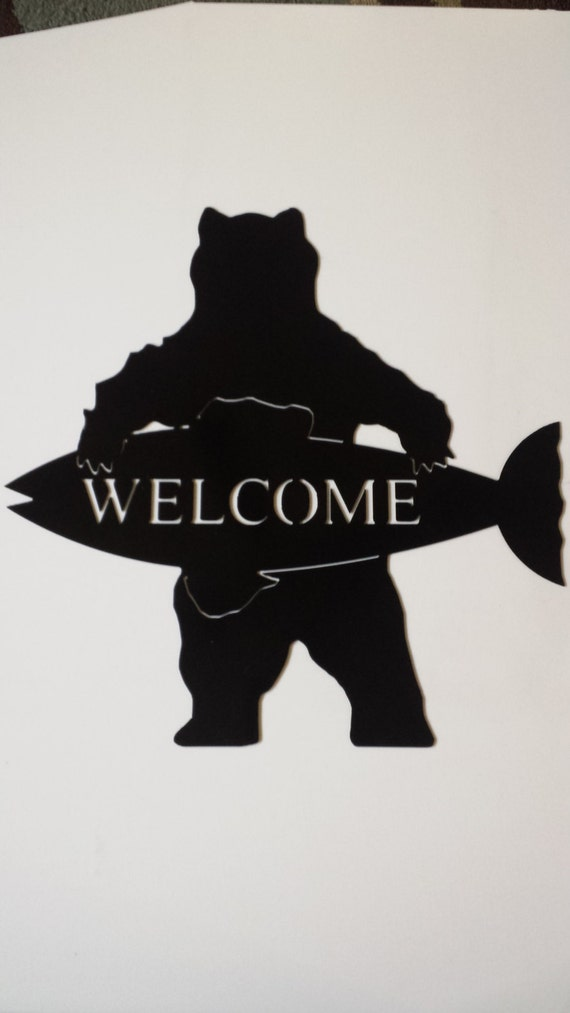CNC Plasma Bear Welcome Metal Sign Powder Coated or Raw Steel