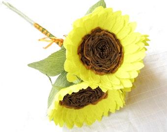 Bridesmaid bouquet/ Paper sunflower/ Crepe paper flowers/ Paper bouquet/ Sunflower bouquet/
