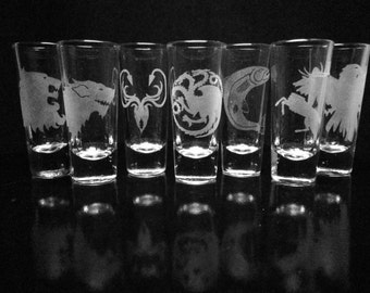 Game of Thrones Set- Choice of Four House Shooter Shot Glasses