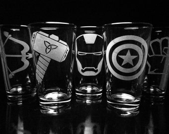 The Avengers Inspired- Pint Glasses - Set of 5- Iron Man- Captain America- Thor- Hulk- Hawkeye- Marvel