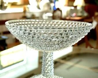 Antique RARE Colombia Glass Co Hobnail Pedestal Compote Circa 1870's