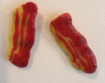 Bacon gift fridge magnets bacon lovers gift set of 2 bacon magnets funny refrigerator magnets boyfriend gift fake food gift for him dad gift