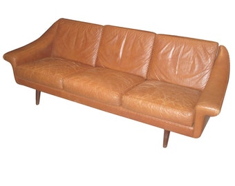 Danish 1960s Leather Sofa with Stitched Decoration
