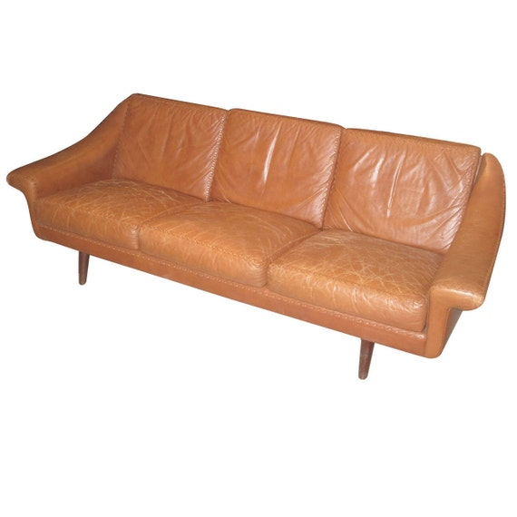 Danish Modern Sofas: Danish 1960s Leather Sofa With Stitched Decoration