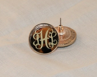 Monogrammed Tortoise Shell Earrings