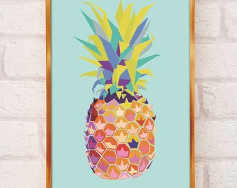 Pineapple Print A4 Or A3 Pineapple Decor Pineapple Wall Art Pineapple Poster