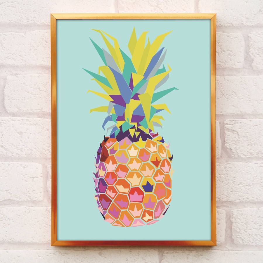 Pineapple print a4 or a3 pineapple decor pineapple wall for Ananas dekoration