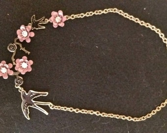Beautiful Sparrow and Flower Necklace