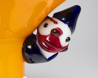 Vintage glass clown pedestal dish. Probably Italian Murano