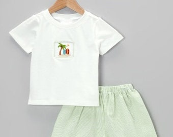 Smocked Palm Tree and Surfing Short Set