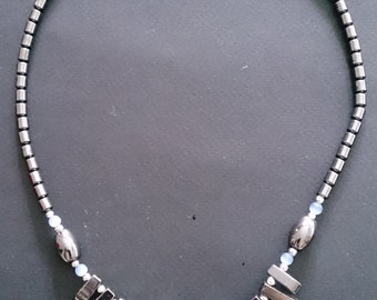 Hematite Choker Style Necklace x 3 - Triple Strand Chip x 1, Fringe Style x 1, Circles Style x 1
