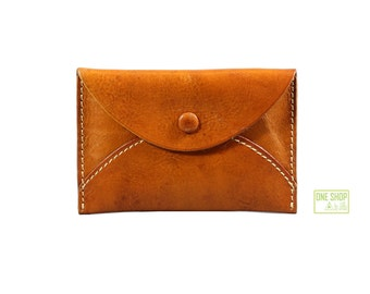 leather card case leather card holder envelop design card case button closure design card case in dull-red/deep brown/earthy yellow khaki