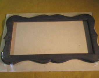 "Scalloped frame, charcoal blue, 6"" x 13"" opening,molded resin, for needlework, no glass"