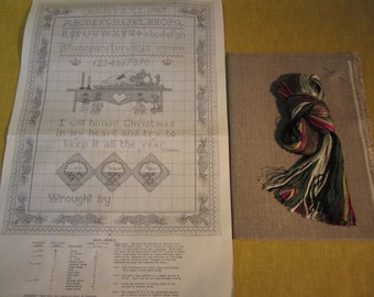 """Holiday sampler counted cross stitch kit, includes 19""""x26"""" 100% unbleached linen,floss,instructions and chart,Christmas,Love,Peace,Hope"""