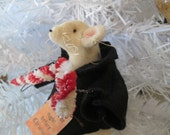 Primitive Christmas Mouse Ornament - Handmade