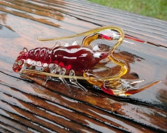 Lobster glass Miniature, glass Crayfish, art glass Crayfish ,blown glass Lobster, Lobster