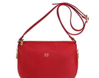 Leather Cross body Bag, Red Leather Shoulder Bag, Women's Leather Crossbody Bag, Leather bag KF-265