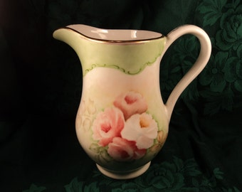 Vintage Hand Painted Floral Pitcher
