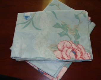 Two Vintage Standard Pillowcases with Large Flowers, Shabby Chic
