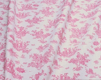 Fabric pure cotton Toile de Jouy rural hot pink bed linen
