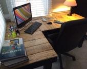 Custom Reclaimed Wood L-shaped desk.