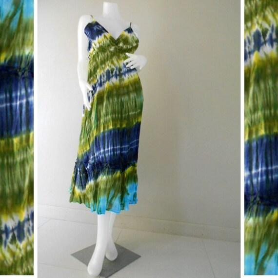Hippie Gypsy Tie Dye Cotton Summer Dress, Halter Back Smock Dress, Beach Long Dress,Maxi Dress M-XL (DMS 302)