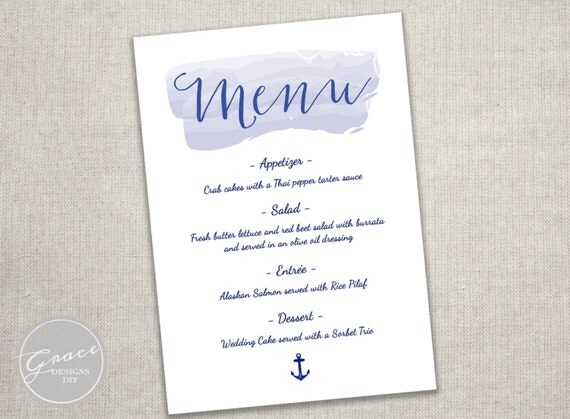 Nautical Watercolor Navy Menu Template / Blue by GraceDesignsDIY