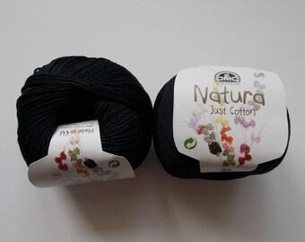 DMC Natura, Just Cotton, cotton yarn, 50g, shade - N11, NOIR, Black, 100% cotton