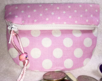 Sweet Pink Coin Purse Small Zipper Pouch Change Purse Gift Card Credit Card Holder Woman's Small Wallet