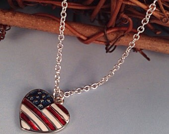 Red White Blue Necklace heart with flag, military wife gift