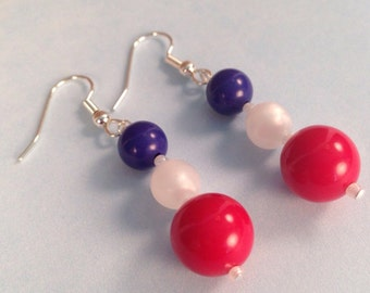July 4th Patriotic Red White and Blue Earrings