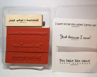 Stampin' Up! SASSY SAYINGS II, Set of 4 Rubber Stamps, 3 New & Unmounted, 1 Gently Used