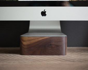 iMac, Thunderbolt Computer Stand - Walnut Wood, Handcrafted, Handmade, Made in Canada