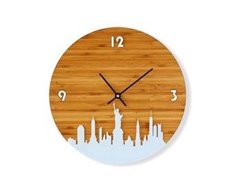 New York Skyline Bamboo Clock