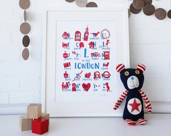 Framed London Kids Print, 'L is for London'